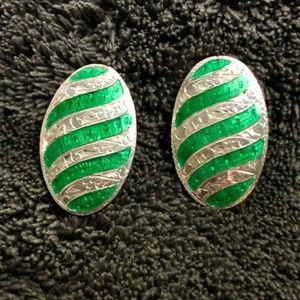 Jewelry - Sterling SIlver Oval Engraved & Enameled Earclips